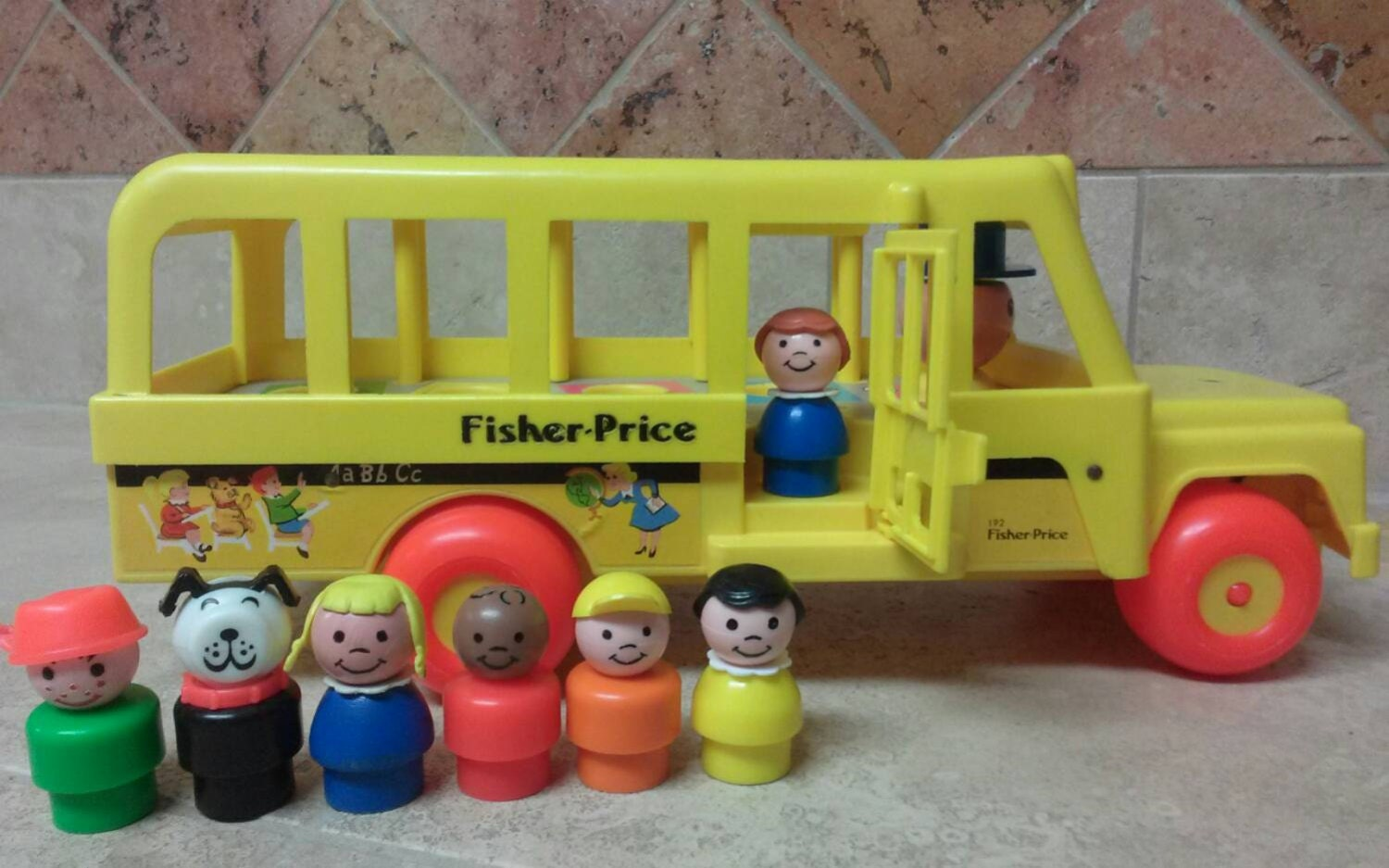 vintage fisher price little people school bus by jamaicainn. Black Bedroom Furniture Sets. Home Design Ideas
