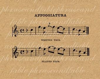 Appoggiatura 359 Vibrations Music Vintage Digital Clip Art Instant Printable Music Notation Score Instrument treble bass notes instrumental