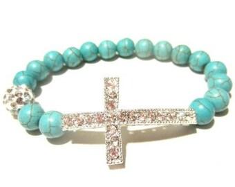 Beaded Sideway Cross Bracelet