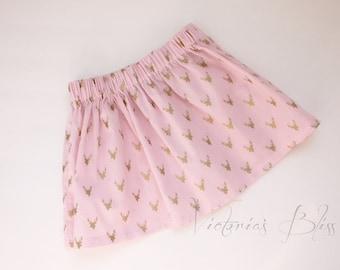 Market Circle Skirt ~PINK w/ Gold Buck Custom Boutique Girls Twirl Skirt/Infant/Toddler Girls-Made to order:  Newborn to 5/6 Girls