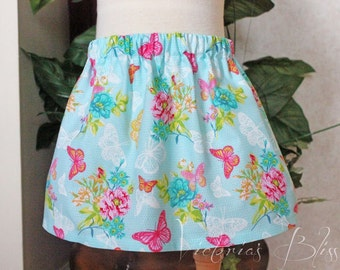 Market Circle Skirt ~Flowers & Butterflies Custom Boutique Girls Twirl Skirt, Infant, Toddler Girls, Made to order:  Newborn to 5/6 Girls