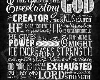 Scripture Art - Isaiah 40:28-31 ~ Chalkboard Style