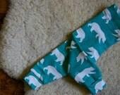 Baby and Kiddo Leggings // polar bears in lush green // size 0-6 & 6-12