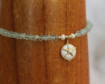 Hanalei Bracelet: aquamarine, freshwater pearl and 14kt gold fill