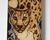 Snow Leopard Tile Mini Plaque Gold and Silver - Woodburning