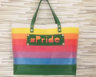 Rainbow LGBT Tote Bag Made from 1980s Sheet #Pride