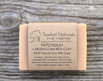 Patchouli + Moroccan Red Clay Soap - Handmade Cold Process soap, All Natural, essential oil soap, goat milk soap