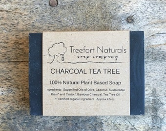 Charcoal Tea Tree Soap - Handmade Cold Process, Organic,  Bamboo Charcoal, All Natural, vegan, Detox Soap, facial soap