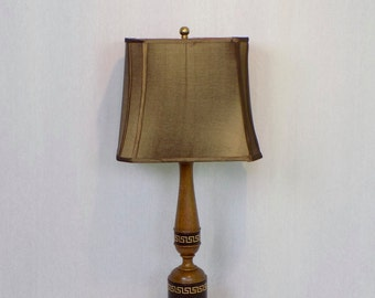 Mid Century Vintage Wood Table Lamp Wrapped Leather with Gold Greek Key Design - Rustic Neo Classical Home Decor Hollywood Regency Lighting