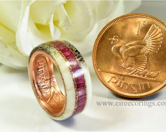 Deer antler wedding band ring with recycled purple heart wood.