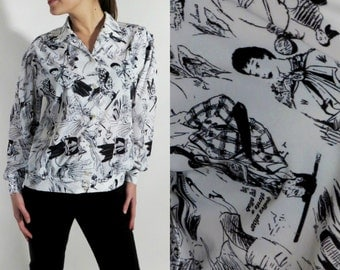 Vintage CHIC Black White Women's and Men's Print Shirt