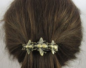 BEE FRENCH BARRETTE 70mm- Bee Barrette- Hair Accessory- Honey Bees- Silver Bees- Brass Bees