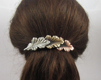 BIG HAIR Leaves French Barrette 100mm Sterling Silver Copper Brass Ox Satin Finish