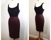 Red Brown Prada Pencil Skirt Vintage 1980s Prada High Waisted Midi Skirt Chocolate Knit Knee Length Wiggle Skirt Size Small