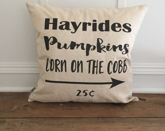 Fall Hay rides Pillow Cover
