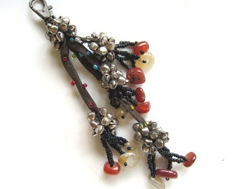 Beaded Keychain Beaded Purse Charm Luxury Purse Swag Gift For Her, Best Friend Gift  Glass Beads Colored Stones Seed beads Brass Bells