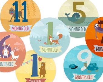 Baby monthly stickers animal, Baby shower gift, 12 months, first year, monthly sticker, baby stickers, baby milestone stickers