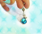 Exotic Turquoise Blue Peacock Paradise Crystal Swirl Drop Belly Button Ring,  Belly Button Rings, Body Jewelry, For Women and Teens