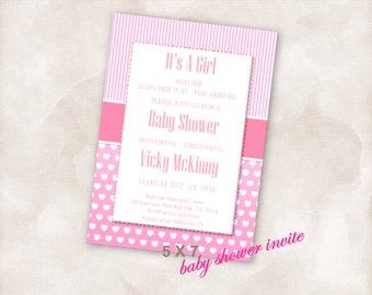 5X7 Baby shower invite Invitation Instant Download printable Just add your info and print! it's a girl baby pink new mom