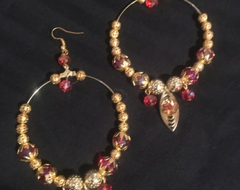 Beautiful red and gold hoops