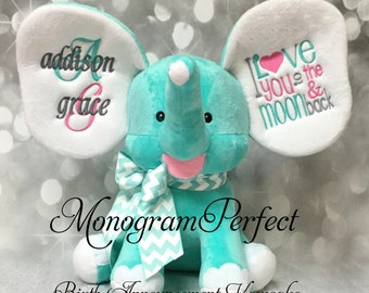 New Exclusive Aqua Blue Personalized Birth Announcement Elephant