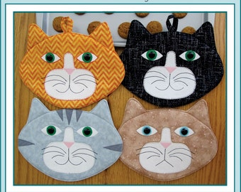PATTERN:  Allie Cats! - Pot Holders or Mug Mats - ST-1511 - Cats - Cat Lovers - Pot Holders