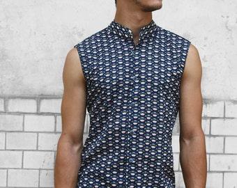 Sleeveless button down shirt mens - Scale - BAÏSAP