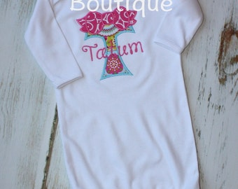 Monogram Bow Baby Gown Sweet Girls Take Home Outfit Layette