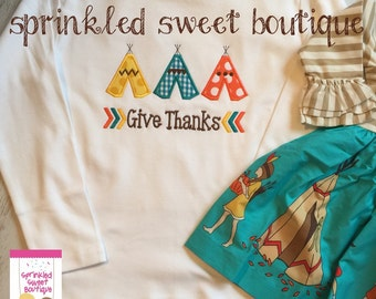 Thanksgiving Tee Pee Give Thanks Shirt Custom Applique Turkey Made to Match m2m Eleanor Rose Thanksgiving Parade
