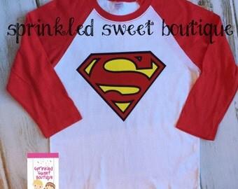 Superman Clark Kent Superhero Custom Raglan Baseball Shirt Red Black Womens Mens Kids Girls Birthday Can Personalize Add Monogram