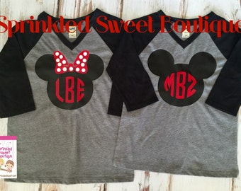 Minnie Mouse Big Bow Ears Inspired Raglan Baseball Shirt Custom Women Girls Shirt Family Perfect for a Disney World Trip
