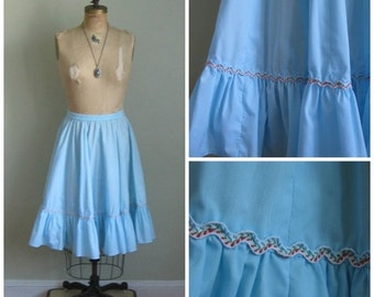 EOS SALE Vintage Robin's Blue Prairie Skirt// Swirl// Country