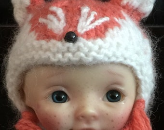 Handmade cashmere Fox hat for Nikki Britt dolls