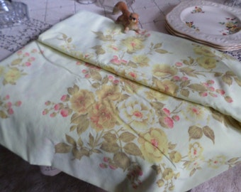 Vintage Dan River Tranquale No Iron Percal Double Flat Full Sized Bed Sheet/Bedding-Bright Yellow/Red/Brown