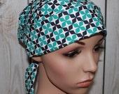 kate Lattice in Bali,Scrub Hat. Surgical Scrub Cap, Tie back Pleated Scrub Hat with band, OR Nurses Scrub Hat