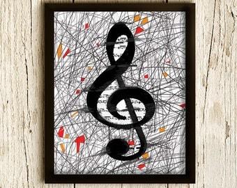 Art Print MUSIC KEY , Modern Minimalist, Music Poster, Black and White, Wall Hanging, Modern Illustration 8x10in