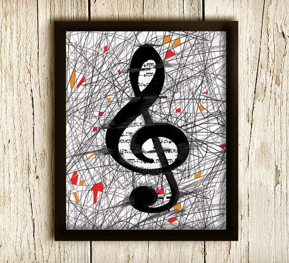 Art Print MUSIC KEY , Modern Minimalist, Music Poster, Black and White, Wall Hanging, Modern Illustration 8x10in
