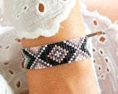 Evil Eye Bracelet - Ethnic Bracelet - Bohemian Jewelry - Aztec Bracelet - Bead Loom Bracelet - Gray Rose Gold Burgundy Black Bracelet