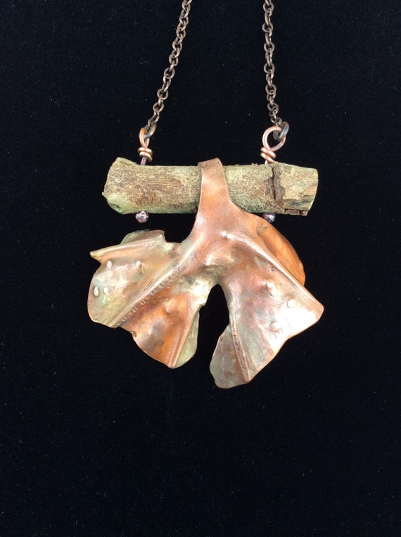 Ginko leaf, organic necklace, copper necklace, free shipping, unique necklace, gift for women, sycamore branch, earth-tone necklace,