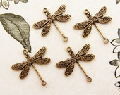 Ornate Vintage Style Antiqued Brass Ox Plated Dragonfly Connectors 17mm - 4