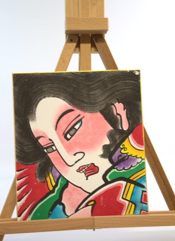 Abstract Art, Geisha Girl, Mixed Media Art, Japanese Signature, Kitsch Art, Keepsake Treasures Estate Find