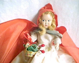 Vintage Little Red Riding Hood Happi-Time Doll - 1950s-1960s Sears Roebuck - Hard Plastic Costumed Character Dolly - Blue Eyes, Blond Hair