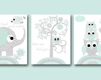 Aqua Grey Elephant Owl Nursery Quotes Canvas Print Childrens Room Kids Art Kids Wall Art Baby Boy Nursery Baby Boy Room Decor set of 3