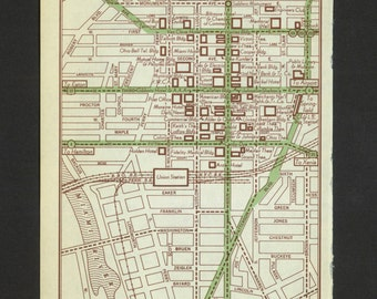 Vintage Map Dayton Ohio Original 1951