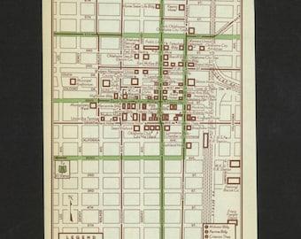 Vintage Map Oklahoma City Oklahoma Original 1951