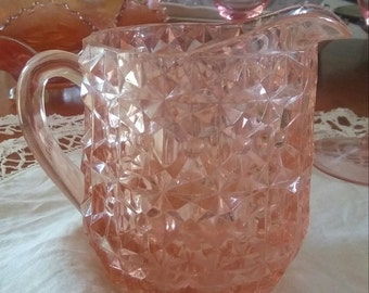Jeanette Glass Buttons and Bows Holiday Milk Pitcher 1940s
