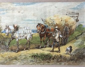 Antique watercolour, Horse art, Horse and Cart, Haywain, Farmer and dog, White horse painting, Horse pulling waggon Rural landscape painting