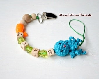 Personalized pacifier clip, Dummy chain with name,Beaded pacifier clip, Baby accessory,Octopus,Custom pacifier,Car seat toy,soothie pacifier