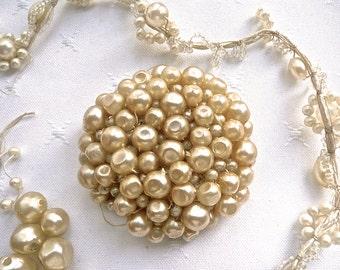 Pearl Appliqué Patch - Edwardian Faux Pearls - Wedding Dress Applique -Vail Pearl Adornment - Faux Pearl Dress Ribbon- Antique Dress Repair
