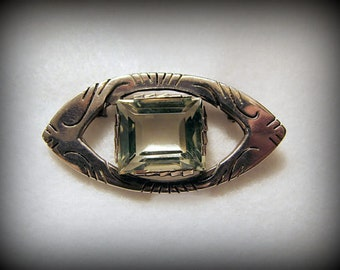 BEAUTIFUL OOAK Vintage STERLING Silver Brooch with Prasiolite Colored Glass